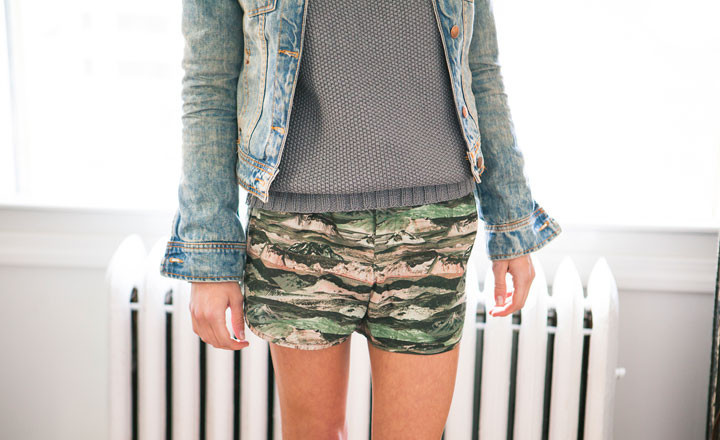 Camo Shorts made in Pasadena, California by Atelier Delphine