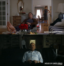 alicewatchesmovies:  Kevin Spacey. Remotes. Annoyed Wives. 1. American Beauty (1999). Toy car. Annette Bening. 2. House of Cards (2013). Video game. Robin Wright.