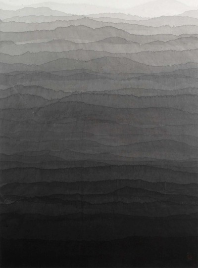 zealotry:  Minjung Kim - Mountains, mixed media on rice paper, 2008