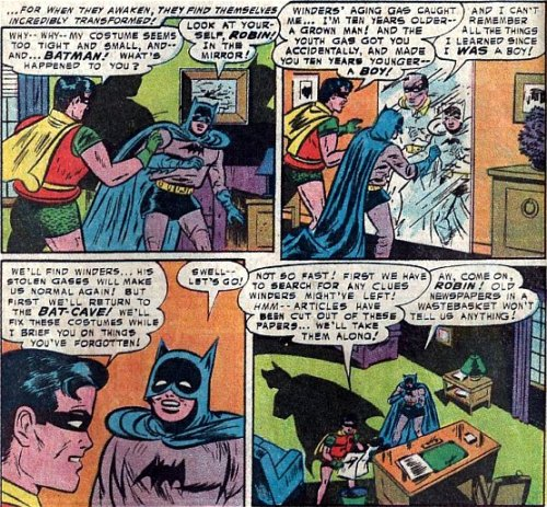 The one where Batman and Robin have their ages swapped, and as the text says that Batman was made 10 years younger what was he in those stories, 22?