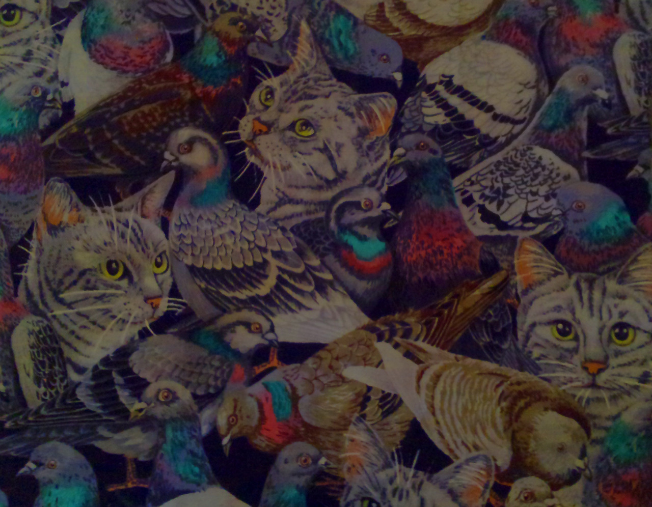 "Large tabby cat and pidgeon remnant pattern piece i had, scanned on photoshop to make a pattern. Similar to the Rip n dip nermal print which I thought was pretty sick. The sun tzu design is for the irony of the cats and pidgeons calm together as it fits a famous war strategy of his ""keep your friends close, but your enemies closer"" Sun Tzu was a chinese war general in 500BC."