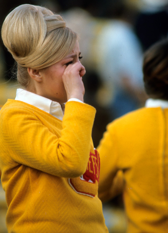 A Kansas City cheerleader breaks down in tears after watching her beloved Chiefs fall to the Packers during Super Bowl I in Jan. 1967. (Walter Iooss Jr./SI)