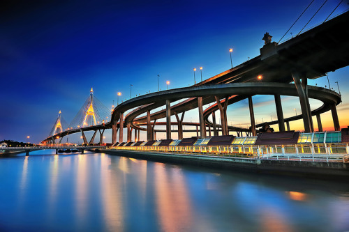 "automotivated:  (via 500px / Photo ""Bhumibol bridge, Thailand"" by Kittipop Laohakul)"
