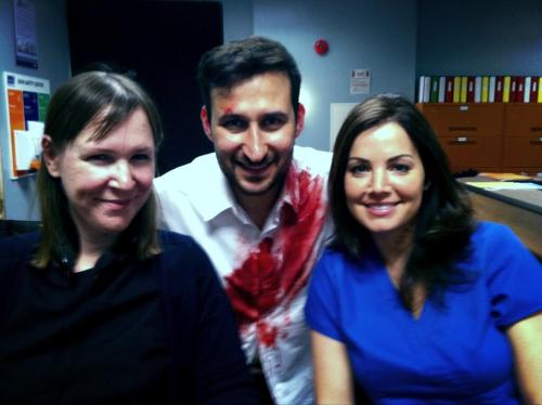 "shelbyhuesario:  #EricaDurance New ""Saving Hope"" BTS (April 12, 2013) (@raoulbhaneja: Blood is fake but smiles are real w friend and creator of @SavingHopeTV @MorwynBrebner and gifted star @ED_DURANCE!)"