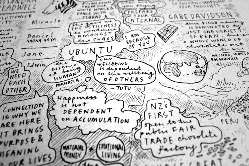 The final triptych of limited edition live sketch notes from TEDx Wellington. We're so proud of the results! Huge thanks to Fuji Xerox, B&F Papers, the team at TEDx Wellington, and all the speakers that shared their stories. We feel privileged to have been able to take part in such a special event, and to have met so many lovely, wholehearted people. Live events: slightly terrifying and rather wonderful all at the same time.