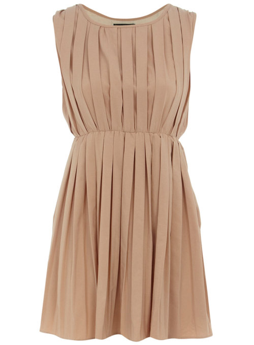 Nude Sleeveless Pleat Dress by Dorothy Perkins