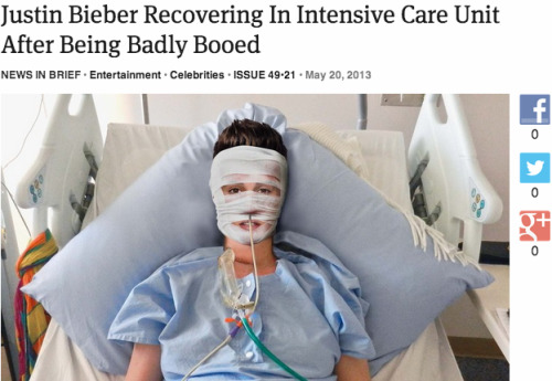 theonion:  Justin Bieber Recovering In Intensive Care Unit After Being Badly Booed: Full Report