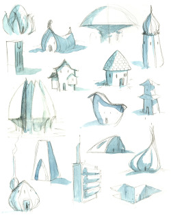 Quick little sketch page of some building ideas… pencil and watercolor