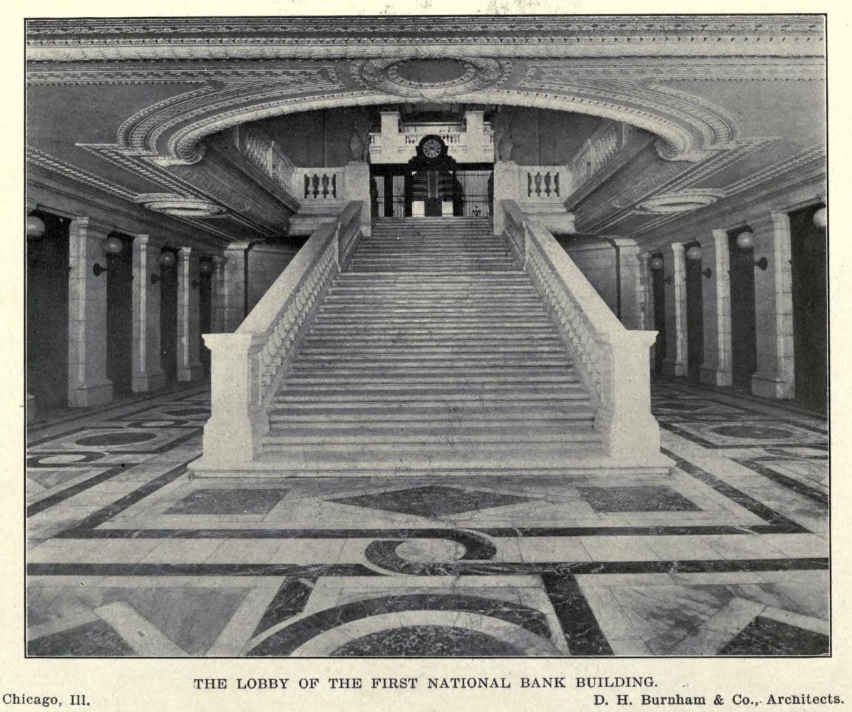 Inside the lobby of Burnham's First National Bank, Chicago