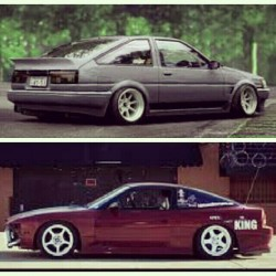 Which one would you drift? #dreamcars #myfav #ae86 #hachiroku ♡ #240sx #hatch #drift #iwishihadbothcars @altered_concepts @jdmsportnation @jdm_overloadd