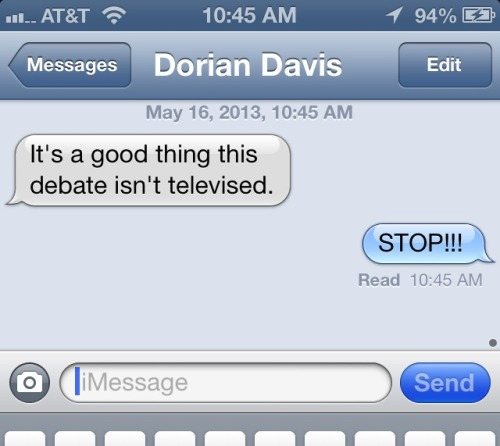 So, Dorian Davis is talking shit before our big debate tonight at ELECTORAL DYSFUNCTION 2013: SUMMER OF SEQUESTRATION! I did pick the worst possible week to argue from the left. Show is at 9:30. Tickets here.