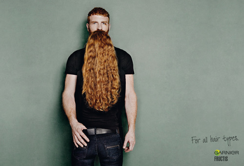 Lurzer's Archive Print Ad of the Week: Garnier Fructis / For all hair types. Look Closely! Think you're looking at a man with a long silky beard? Look again. A clever optical illusion promoting the Garnier Fructis range of hair products. By: Publicis, Zurich