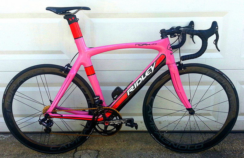 jackkanebicycles:  itsmellslikerob:  Custom paintjob on BikeForums.  For some reason I love this. Met a guy with a Ridley Noah with full Sram Red two weeks ago, and I must say these things are gorgeous in person even without custom paint.  When one of the people you follow shares a bike you painted… PRICELESS.  We loved painting that bike.  It's gorgeous. I'd ride the shit out of that bad girl