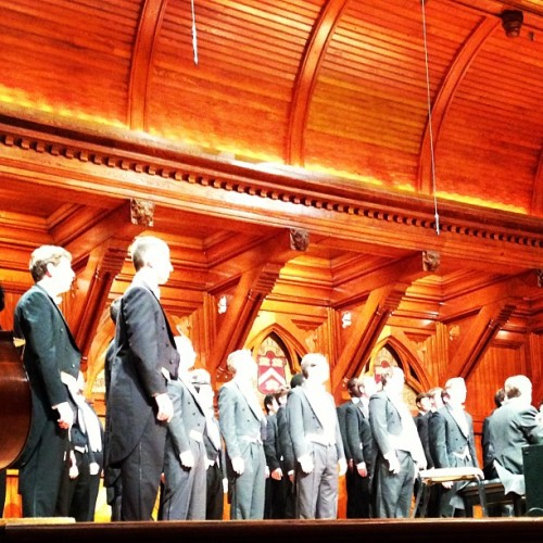 #UMichigan Glee Club at #Harvard. I feel so classy. #VoicesOfAngels (at Sanders Theatre)