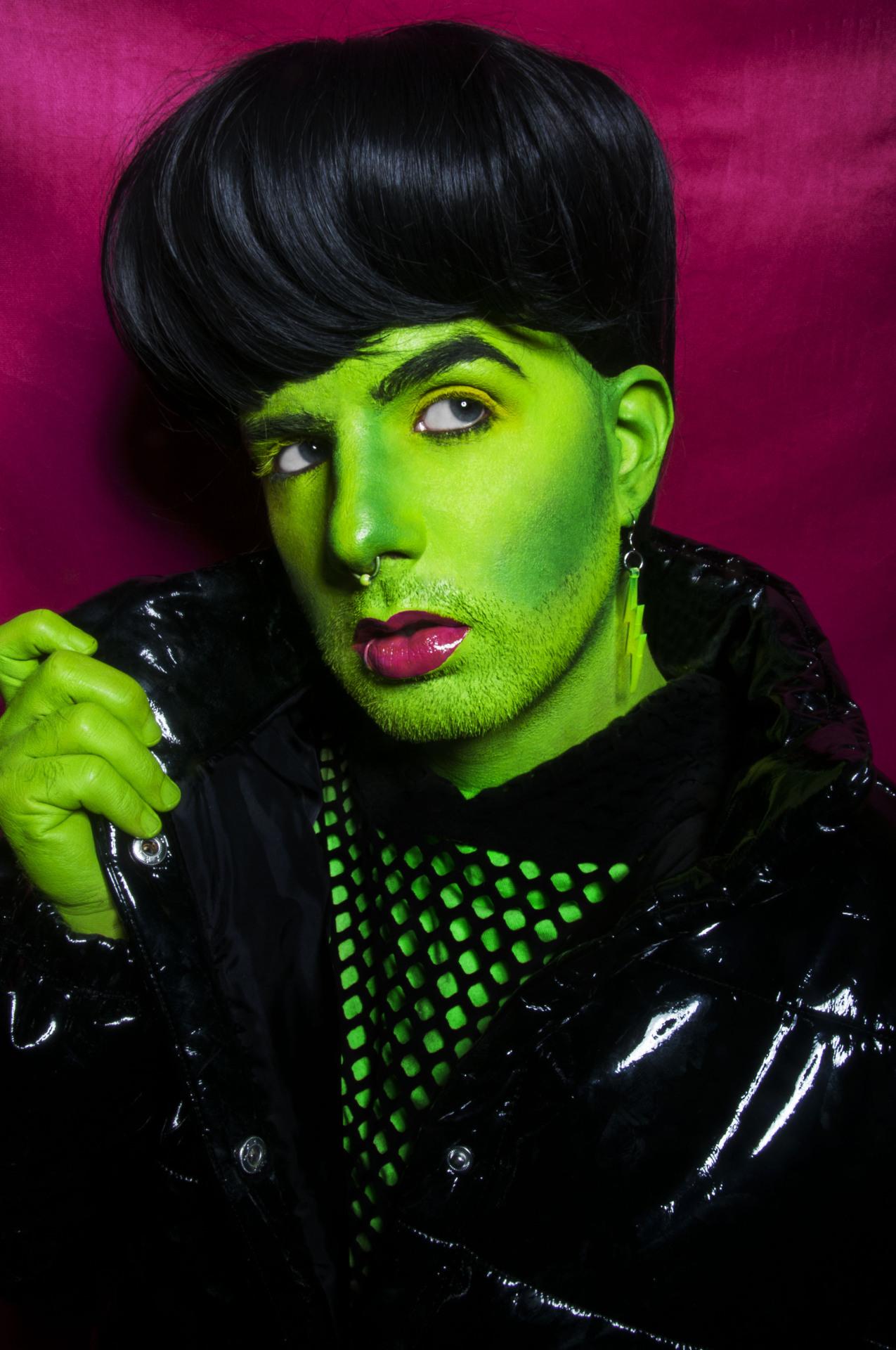 Frankenstein . ethanoille #frankenstein#Halloween#lightning#bolt#queer artist#my face#art