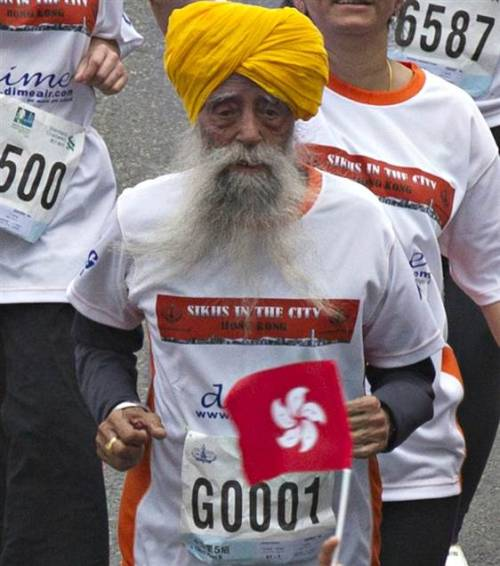 Oldest marathon runner finishes last race at 101 (Photo: Reuters) HONG KONG (AP) -The world's oldest marathon runner ran his last race on Sunday at the age of 101. Fauja Singh finished the Hong Kong marathon's 10-kilometer (6.25-mile) race in a time of 1 hour, 32 minutes and 28 seconds. Read the complete story.