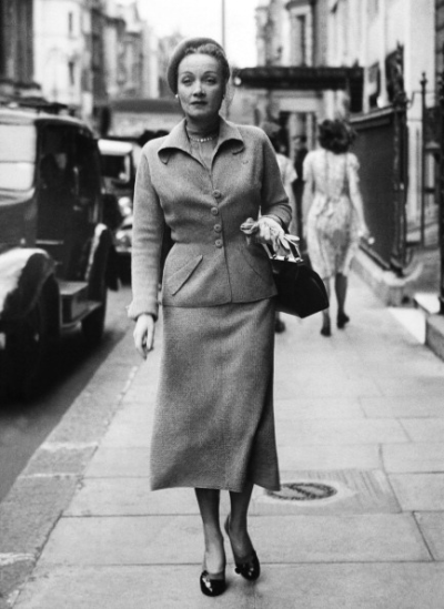 "Marlene Dietrich leaving Claridges, while in London filming ""Stage Fright"". 1949."