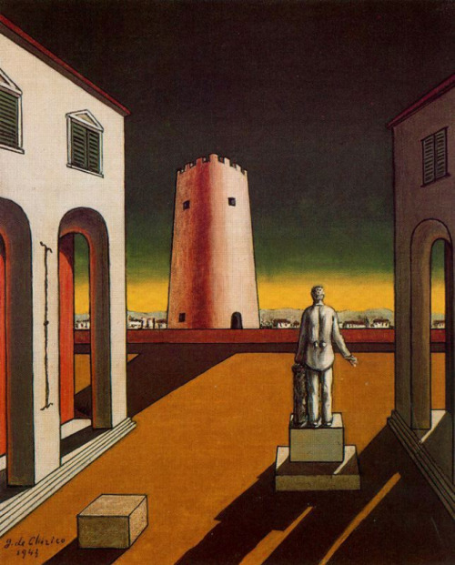 Giorgio de Chirico, Italian Piazza with a Red Tower, 1943