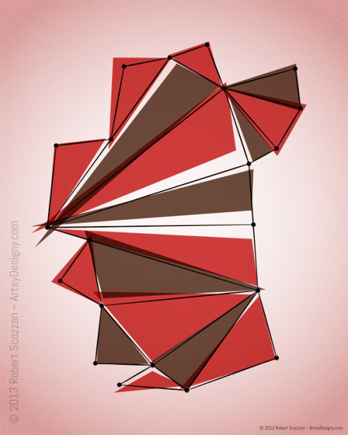 Origami is a series of 44 digital abstracts.The idea was to capture the beauty of origami through focusing on the intersections of lines and points of contact. Taking away the focus of origami's purpose of a final creation and focusing on the beauty of the act of creating itself. There are no swans here or frogs or anything else that may be an origami creation. Prints for sale on Etsy by clicking here. Visit my website by going to www.ArtsyDesigny.com