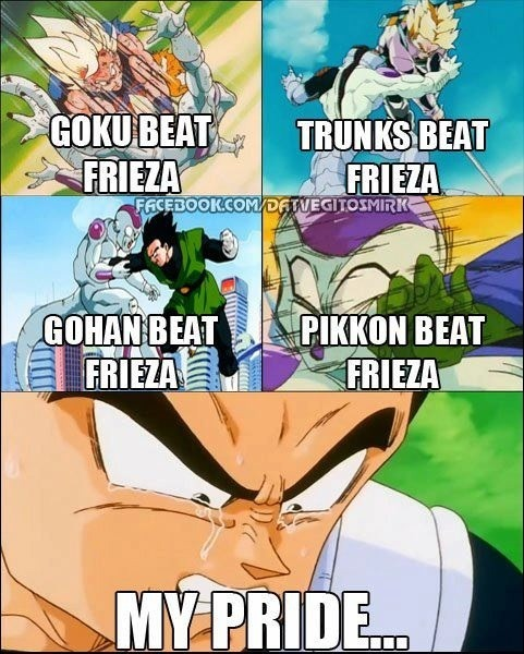 lyriciss:  dope-migraine:  ahhh the struggle   Vegeta stayed takin' them L's.