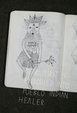 streetsandmeadows:  SKETCHBOOK_PUEBLO INDIAN SHAMAN