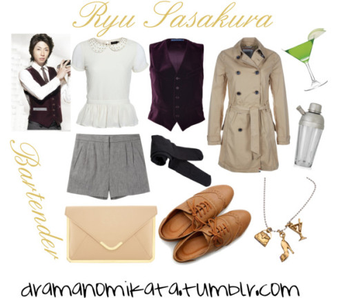 "Look inspired by the character Ryu Sasakura from the Japanese drama, ""Bartender."" ""Bartender"" - Ryu Sasakura by kuri-chan featuring hilfiger denim"