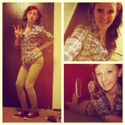 My outfit today »> #newshoes #happygirl #ootd #flannel #bandana #tanpants