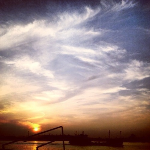 Sunset on the Suez Canal in Port Said, Egypt.