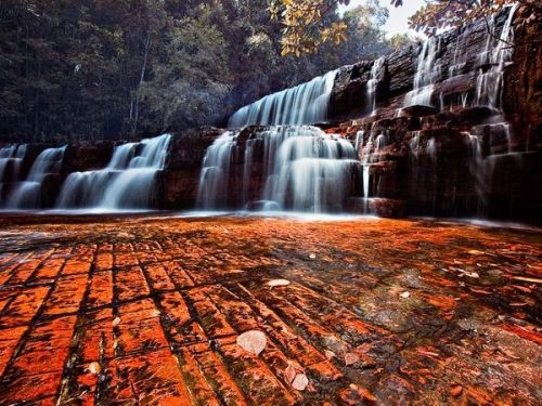 themuslimrevert:   Kako Paru Waterfalls Photograph by Jesus Salazar Inflamed by the presence of jasper, tumbling cascades 30 miles (48 kilometers) southwest of Roraima expose rock sandwiched within the sandstone from which the tepuis are formed. Some of the world's oldest sandstone, these deposits were laid down at least 1.8 billion years ago atop the Guayana shield, the oldest rock in South America.