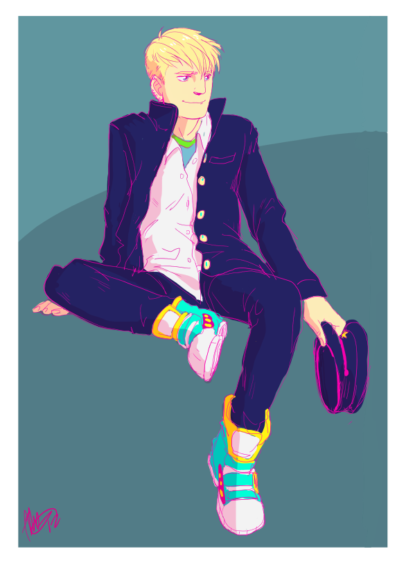 teddy + gakuran is something i wanted to draw for ages the color scheme kinda just happened