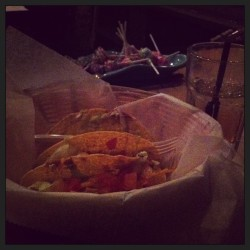 I'm eating some fucking tacos with my sister from another mister (stepsister) what are you doing? #whiskey #tacos #deepconversations  (at Tattooed Mom)