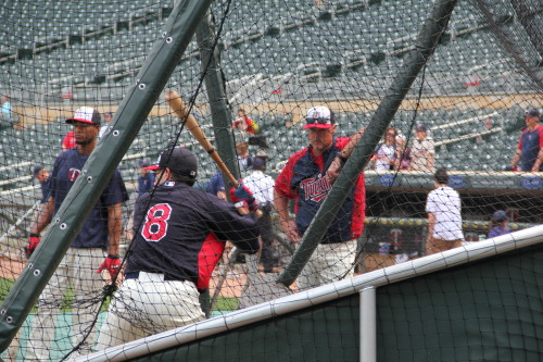 Bruno looks on while Carroll takes a few swings during BP!