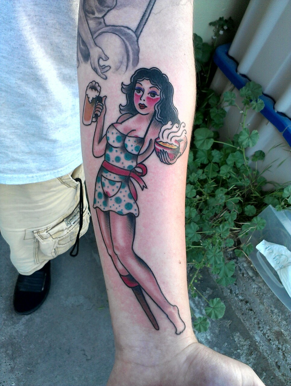 justindion:  Babes,beer,and a bowl of soup. Tattoo done by Justin Dion