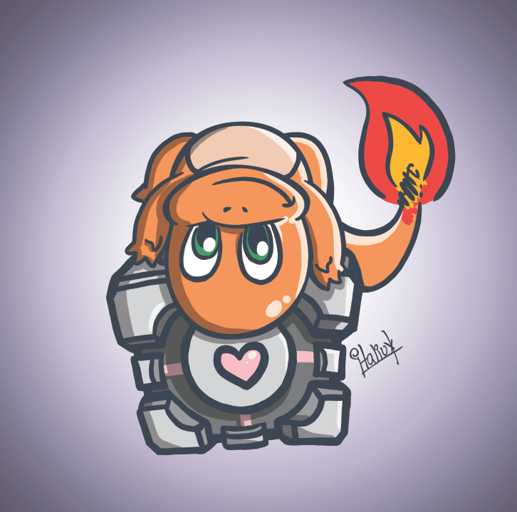 Third Batch Commissions #008Charmander on a Companion Cube - Victor Elci