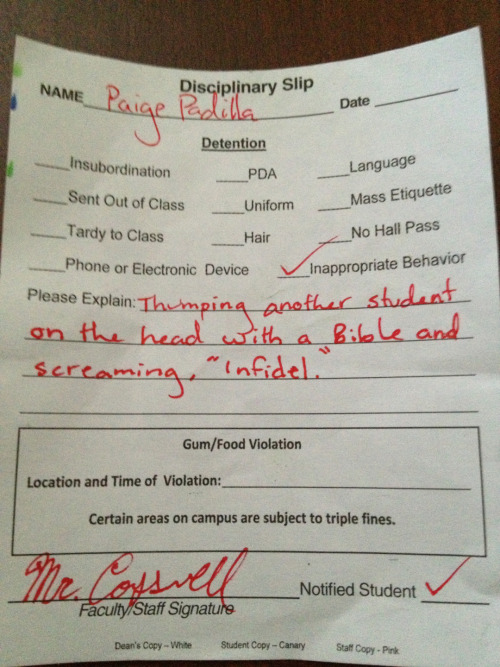 Got a detention today. Sigh.