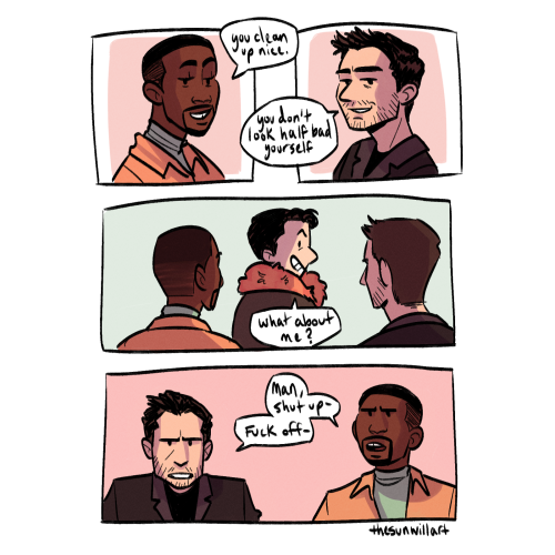 this bit from this fic made me lose it i had to draw it, fic by @exhuastedpigeon #fatws#sambucky#sam wilson#bucky barnes #the falcon and the winter soldier #mcu fanart#my art#helmut zemo #i cant believe i forgot to tag zemo LMAO  #the day i figure out seb stans face... its over for yall  #jk im gonna draw them more anyways #1k#2k#fanfic art#3k