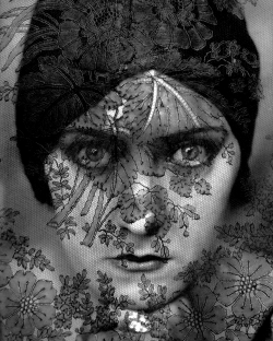 onlyoldphotography:  Edward Steichen: Gloria Swanson, 1924  Steichen's portrait of Gloria Swanson has taken on iconic masterpiece status overtime. Created in 1924, just as the first feature - length sound movies were emerging - effectively truncating the actress's brilliant silent-film career - this image caught the essential Gloria Swanson: haunting and inscrutable, forever veiled in the whisper of a distant era. Steichen's photograph has elements of turn-of-the-century pictorialism (moody and delicate, the subject seeming to peer from the darkness, as if from jungle foliage), yet it also projects modernist boldness, with its pin-sharp precision and graphic severity.