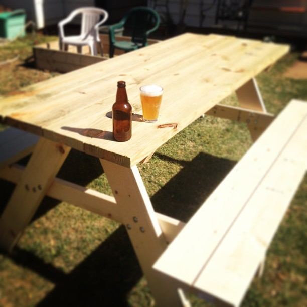 Having a well-deserved home brewed beer sitting on the picnic table I just made.  (at Every Night Is Game Night)