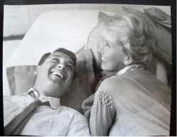the-rock-hudson-project:  Candid pic of Rock Hudson and Doris Day on set of 'Pillow Talk' 1959