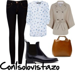 Outfit of the day 6 #ootd por con1solovistazo con denim skinny jeansTed Baker denim skinny jeans, $120 / Small heels / Zara woven tote bag / Casaco capa mangas morcego, $46 / Camisa cuello mao estampado colibrís, $39