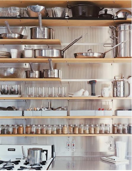 Open shelving with stainless exposed