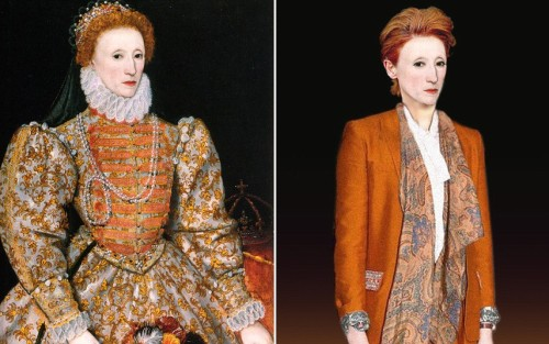 How historical figures would have looked today: (ABOVE) Elizabeth I A powerful no-nonsense female leader, Elizabeth might have straightened her hair in a powerful yet stylish short cropped style. Known for her love of fashion, she would be more likely to wear a bespoke stylish and unique female suit made with rich colours and material. Rarely pictured smiling, Queen Elizabeth exudes power in the modern day portrait, and hides her new veneers purchased to disguise her notoriously bad teeth. From: The Telegraph
