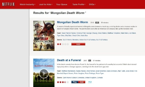 Oh, @Netflix. Did I miss the giant killer worms in Death at a Funeral?