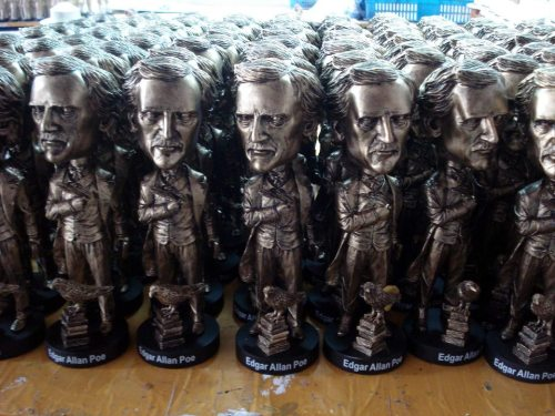 Edgar Allan Poe bobbleheads. Proceeds go to building a Poe statue in Boston.