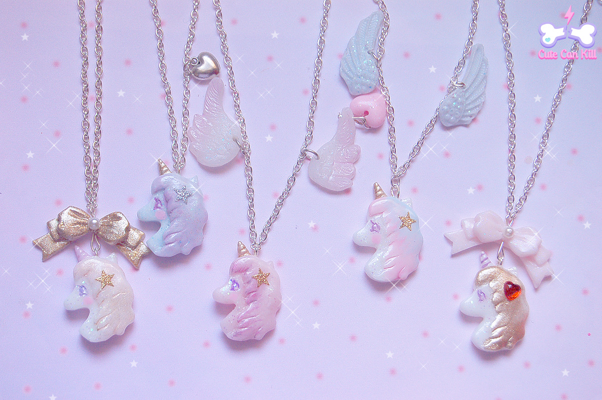 ☆♡⌒ Angelic Unicorns necklaces ⌒♡☆ available later today at http://cutecankill.storenvy.com/ (☞〃*∀*〃)☞~ ♡ The new update is postponed at 9 pm! (GMT +1) Stay tuned!☆:::