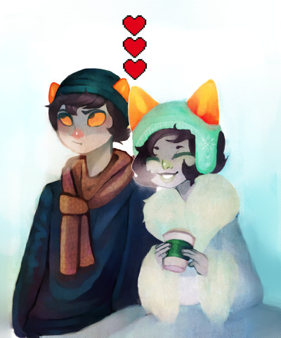 "sugaryacid:  1st commission done for anthraxtarantist!! Karkat and Nepeta went out on a date but Karkat only had enough for one cup and he gave it to Nepeta and she's just ""AHHHHHHHHHHHH ILU"" and now he's 5ever red Thanks again for commissioning me and I'm sorry it took so long, my computer was going through a realllll bad glitch phase  I'M FUCKING CRYING THIS IS THE FIRST TIME MY ART HAS GOTTEN A 1,000+ NOTES HOLY SHIT DFSKKJ"