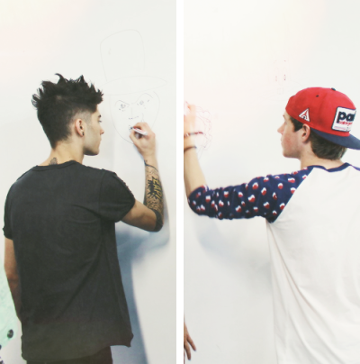 yeahniall:   Zayn and Niall drawing