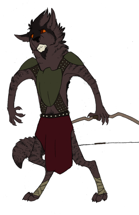 hey it's my sexy sexy d&d characterthis is rysk and he is a gnoll rangerget up out his forest