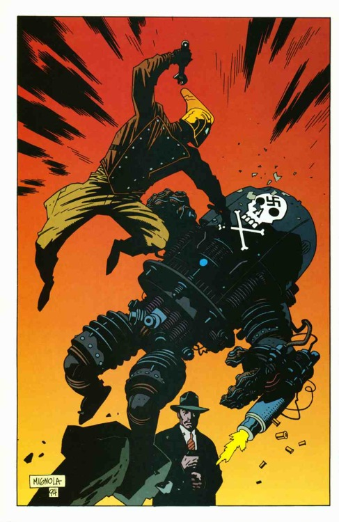 brianmichaelbendis:     Pin-up by Mike Mignola from The Rocketeer Adventure Magazine #3, published by Dark Horse Comics, January 1995.   You guys know that Mike Mignola should totally draw a Rocketeer comic, right?