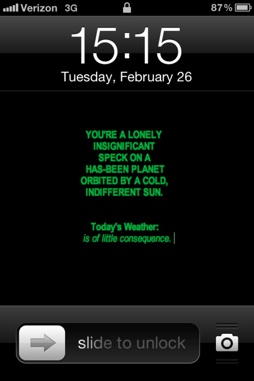 Wait, would a weather application display information on the lock screen? Then it would be completely frictionless¹. I could almost think about investing in such things. ¹ Like an introductory physics cow.